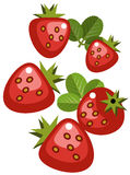 Strawberries. Illustration of simplistic strawberries with leaves isolated on white Royalty Free Stock Photos