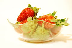 Strawberries. In a bowl on a white background Royalty Free Stock Images