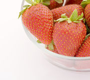 Strawberries. In a glass bowl Royalty Free Stock Images