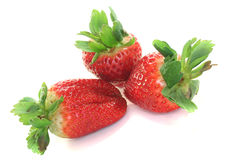Strawberries. Three strawberries on a white background royalty free stock images