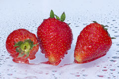 Strawberries. Sweet strawberries on a wet background Stock Photo