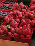 Strawberries. Buckets of strawberries and blueberries in a street market Stock Images