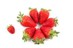 Strawberries. Some strawberries in front of a white background royalty free stock photo