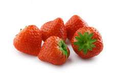 Strawberries. Some fresh red strawberries on the white Royalty Free Stock Photo