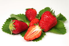 Strawberries. Beautiful strawberries arranged on sheet Royalty Free Stock Photos