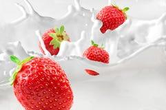 Strawberries. Splashing in to milk Royalty Free Stock Photography
