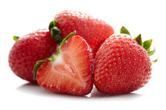 Strawberries. Close up photo group of strawberries on white background with shadow Royalty Free Stock Photography
