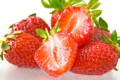 Strawberries. Juicy fresh ripe strawberries on a white background Stock Photography