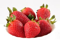 Strawberries. Ecological strawberries tasty bowl of white background stock photo