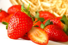 Strawberries. Red fresh strawberries isolated white Stock Images
