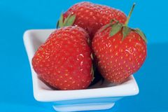 Strawberries. Fruits of strawberries in a dish Royalty Free Stock Photo