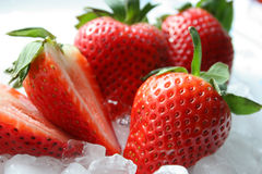 Strawberries. On plate of crushed ice Royalty Free Stock Photos