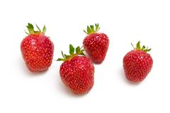 Strawberries. Four strawberries on white background Stock Photography