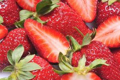 Strawberries. Close up of a group of fresh, succulent strawberries stock photos