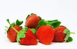 Strawberries. Berries. Five red sweet strawberry Royalty Free Stock Photos