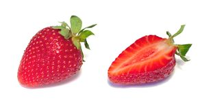 Strawberries. Whole and half Royalty Free Stock Image