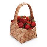 Strawberries. Fresh strawberries in basket on white background royalty free stock photo