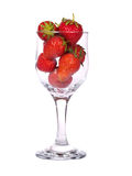 Strawberries. In glass isolated against a white background Royalty Free Stock Images