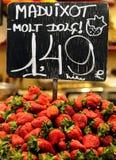 Strawberries. Strawberry in the La Boqueria Market, Barcelona Royalty Free Stock Photos
