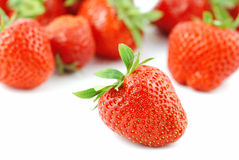 Strawberries. Many strawberries fruits isolated on white - some are out of DOF stock images