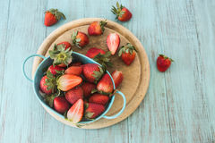Strawberries From Above On Wood Cutting Board Royalty Free Stock Image