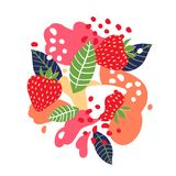 Strawberries on abstract background. Vector illustration. Strawberries on abstract background. Vector illustration Stock Photography