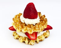 Strawberries And Cream Waffles Stock Image