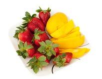 Strawberries And Fresh Mango Royalty Free Stock Photos