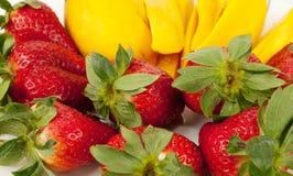 Strawberries And Fresh Mango Royalty Free Stock Photography