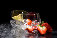 Strawberries And Lemon On Ice - Cocktail Dessert Stock Image