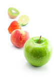 Strawberries,apple,lime,peach and kiwi  isola Stock Image