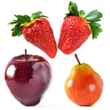 Strawberries, apple and pear isolated on white Stock Photo