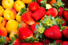 Strawberries and apricots. Delicious pile of strawberries and apricots over wood Royalty Free Stock Image