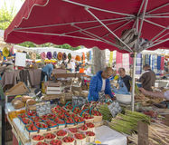Strawberries asparagus Cassis market Stock Photography