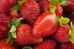 Strawberries background. Fresh Ripe Perfect Strawberries Full Frame Background Royalty Free Stock Images
