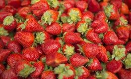 Strawberries background. Fresh strawberry - Food frame background Stock Photo