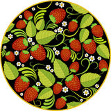 Strawberries background with leaves, berries and flowers in round frame on black. Strawberries background with green leaves, berries and white flowers in round Royalty Free Stock Photos