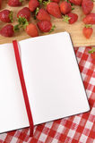 Strawberries background, recipe book, copy space Royalty Free Stock Photos