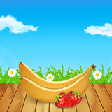 Strawberries and banana Royalty Free Stock Photos