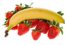 Strawberries and banana Royalty Free Stock Photography