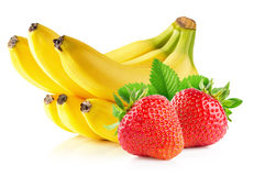 Strawberries and banana isolated on the white background Stock Photo