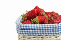 Strawberries in basket. Basket of fresh strawberries royalty free stock image