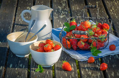 Strawberries in the basket and bowls on wooden tab Royalty Free Stock Photography