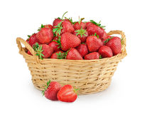 Strawberries in a basket isolated Stock Photos