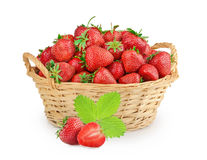 Strawberries in a basket isolated Royalty Free Stock Images