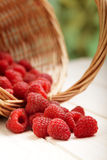 Strawberries in a basket on the table Royalty Free Stock Photos