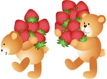 Strawberries being carried by teddy bears. Scalable vectorial image representing a Strawberries being carried by teddy bears, isolated on white Royalty Free Stock Photo