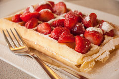Strawberries belgian waffle Royalty Free Stock Photography
