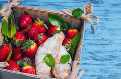 strawberries berries, baked two croissants Stock Image