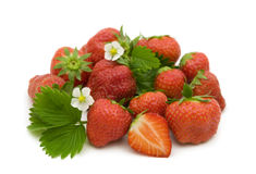 Strawberries berries and flowers Stock Photo